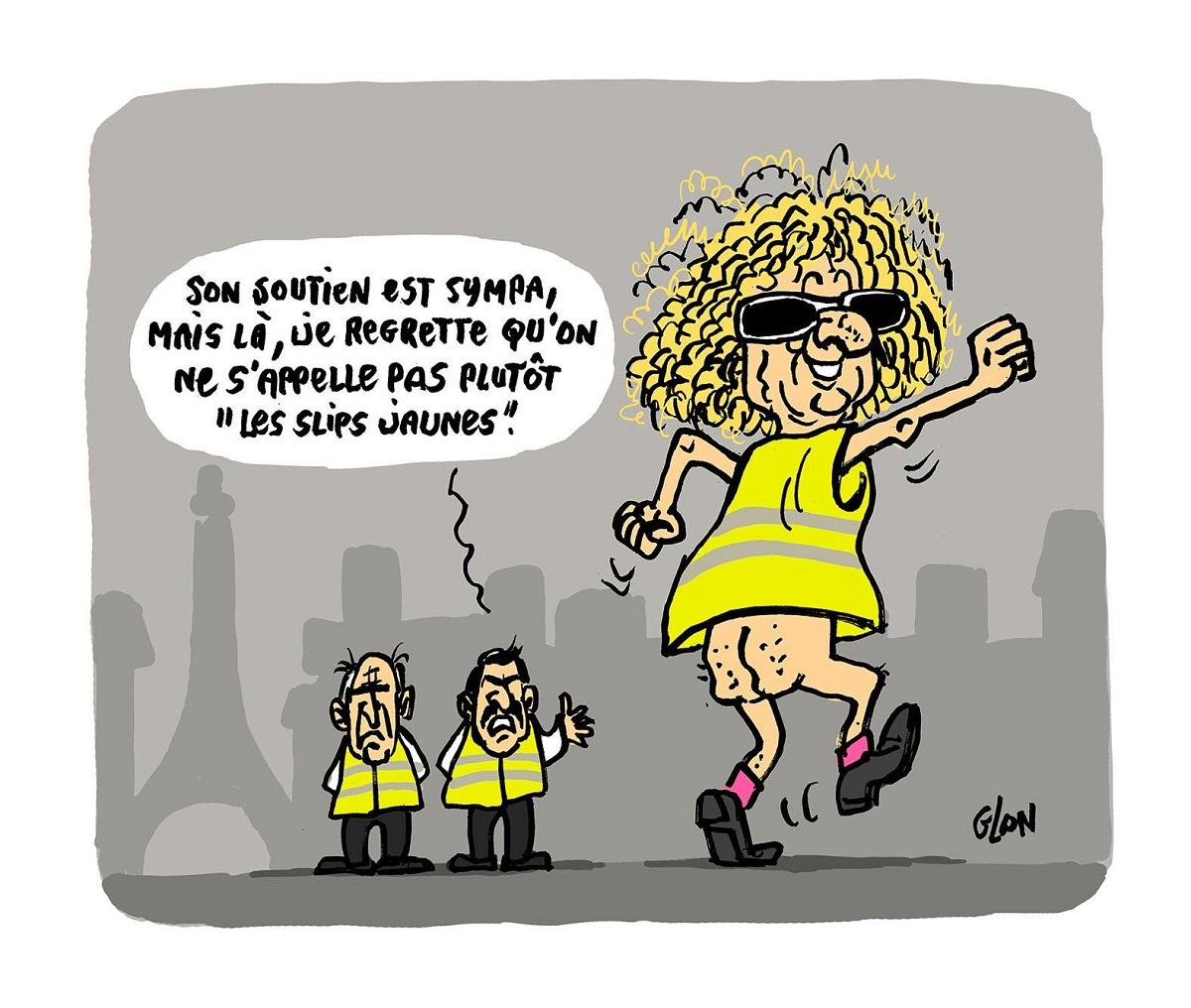dessin d'actualité humoristique sur Michel Polnareff et son soutien au mouvement des gilets jaunes