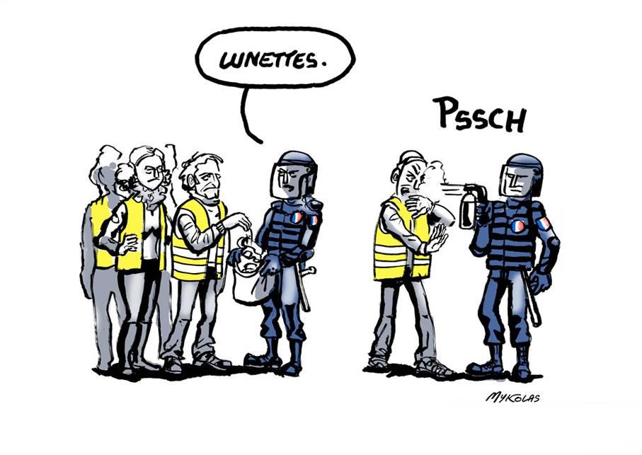 dessin d'actualité humoristique sur le gazage des gilets jaunes