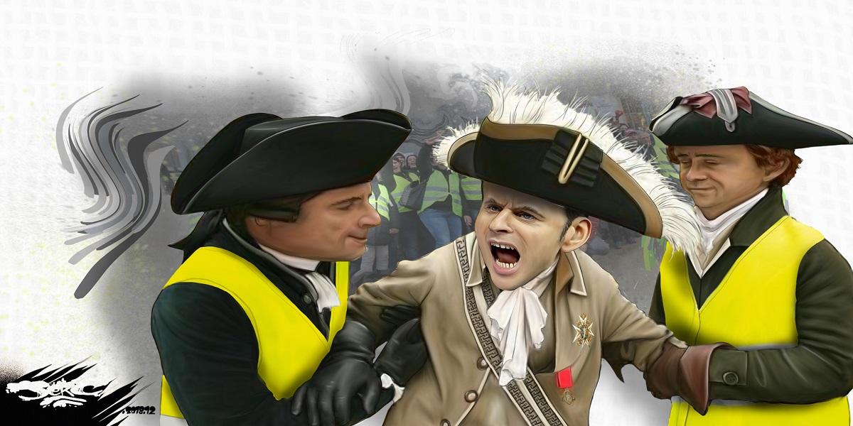 dessin d'actualité humoristique sur Emmanuel Macron et les gilets jaunes
