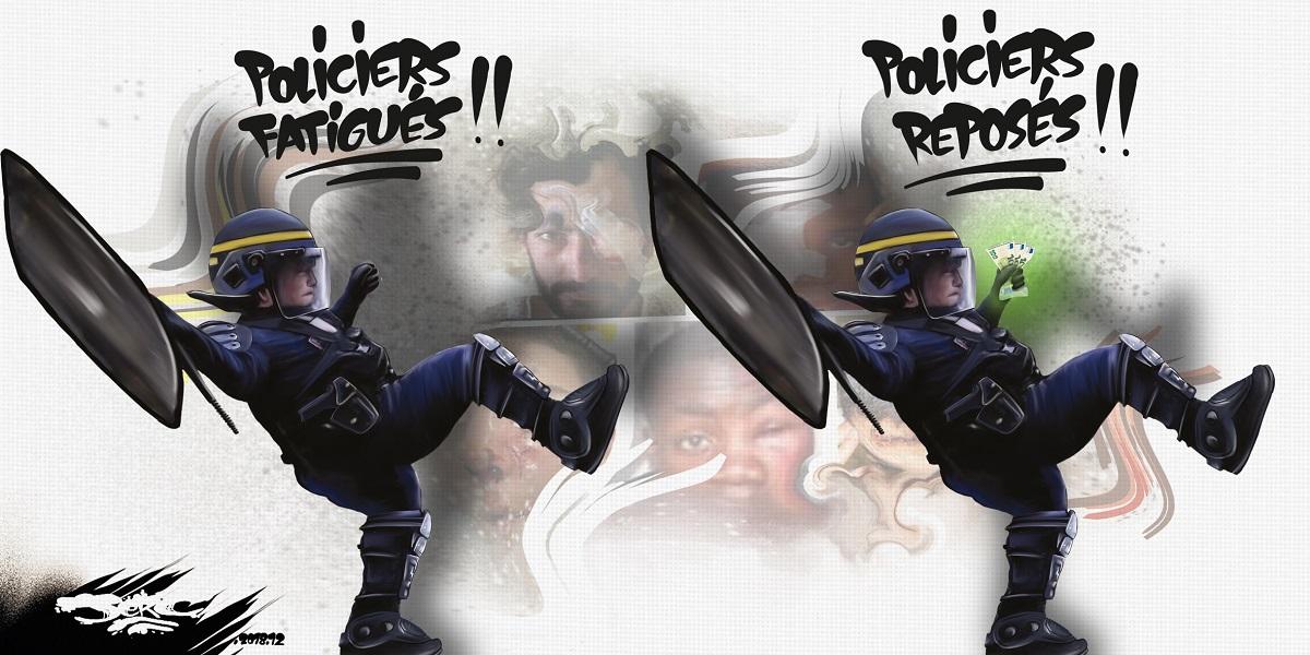 dessin d'actualité humoristique sur la transformation de la France en État policier