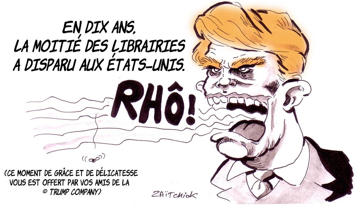 dessin d'actualité humoristique sur la fermeture des librairies aux États-Unis