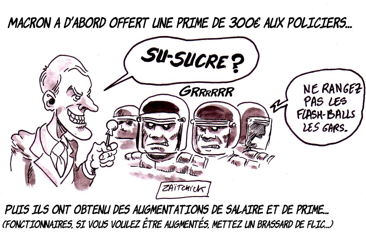 dessin d'actualité humoristique sur Emmanuel Macron et les augmentations de salaire dans la police