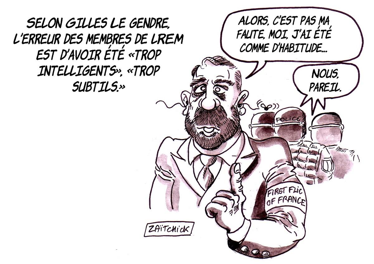 dessin d'actualité drôle sur la réflexion de Gille Le Gendre concernant l'erreur de LREM
