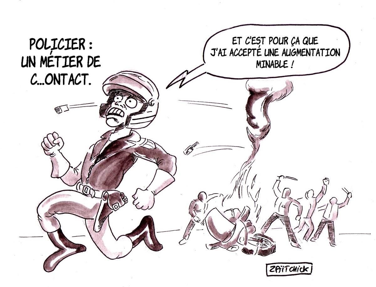 dessin d'actualité humoristique sur les policiers lynchés lors des manisfestations