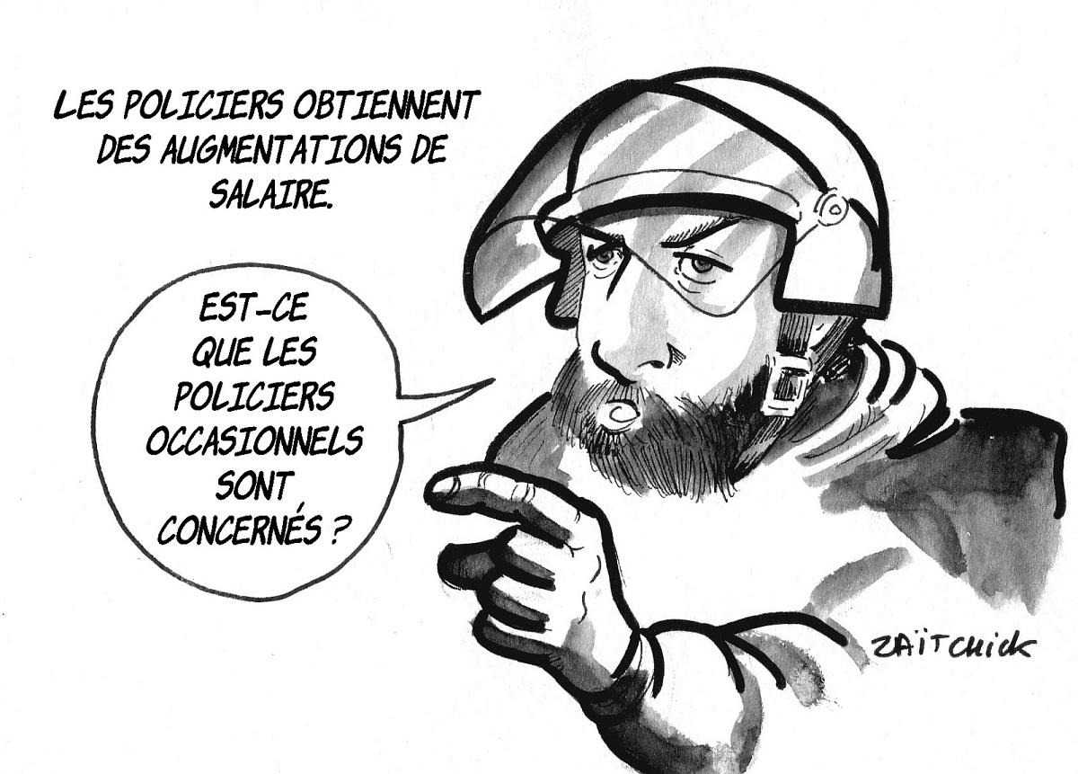dessin d'actualité humoristique sur l'augmentation de salaire des policiers et Alexandre Benalla