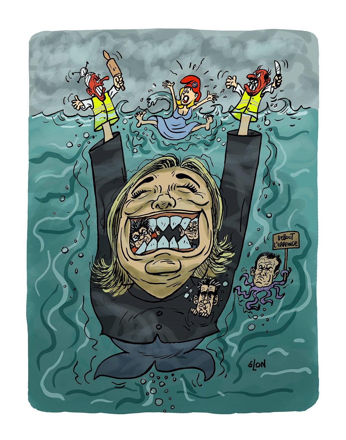dessin d'actualité humoristique sur la perspective d'une victoire de Marine Le Pen aux élections européennes