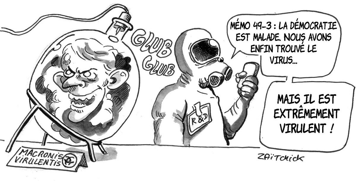 dessin d'actualité humoristique sur la démocratie malade d'Emmanuel Macron