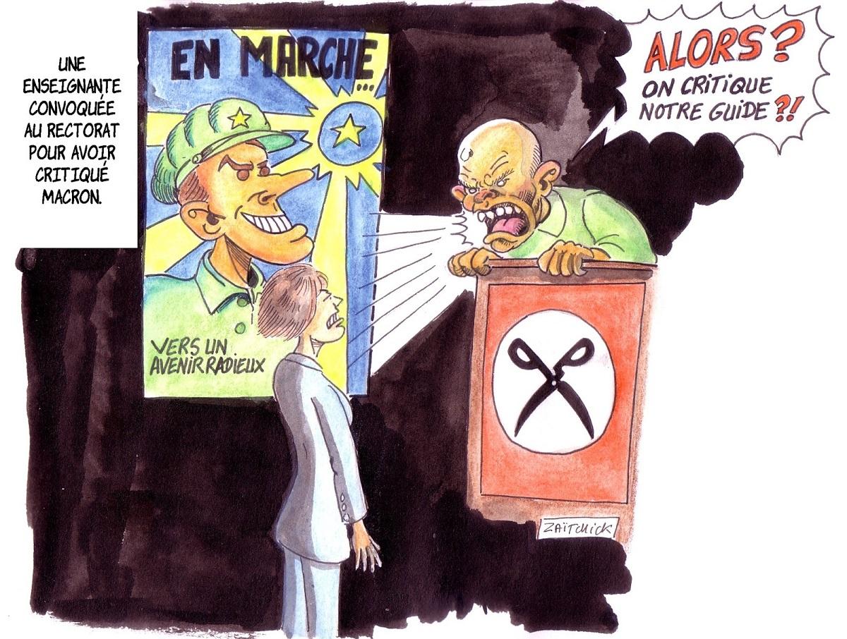 dessin d'actualité humoristique sur la convocation d'une enseignante pour avoir critiquer Emmanuel Macron