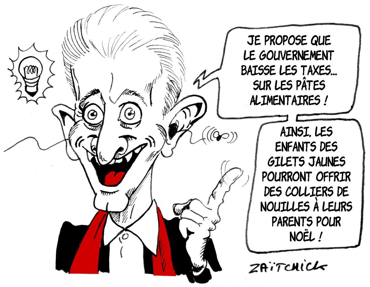 dessin d'actualité humoristique sur la nouvelle idée géniale de Christophe Barbier