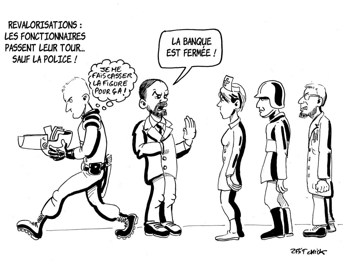 dessin d'actualité humoristique sur la revalorisation de salaire des fonctionnaires