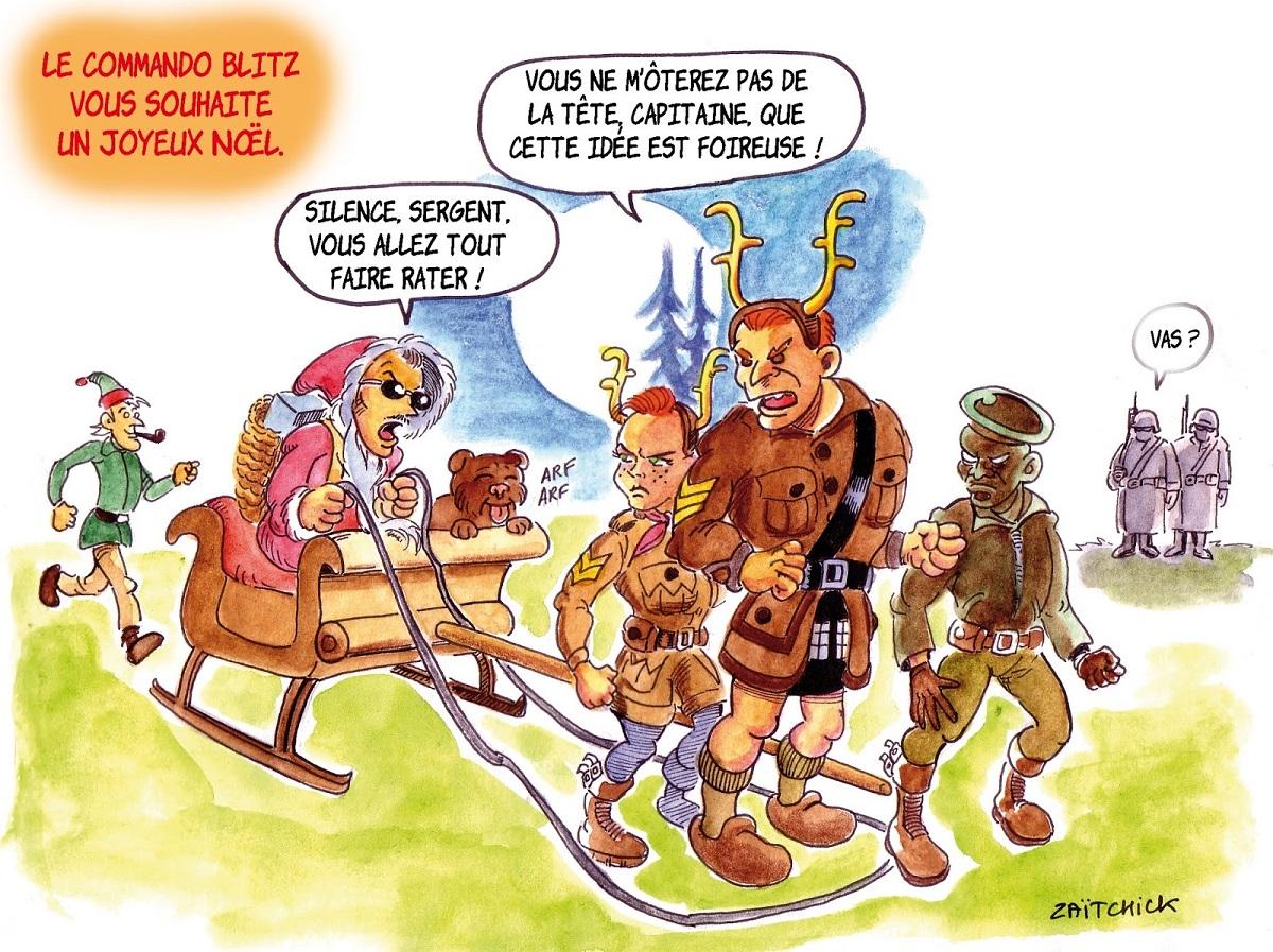 dessin d'actualité humoristique sur le Joyeux Noël de Commando Blitz par Zaïtchick