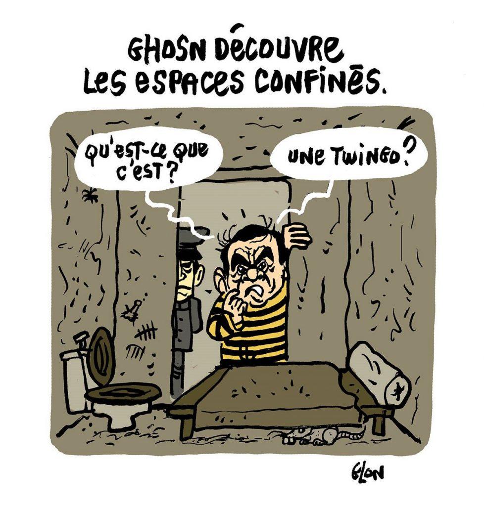 dessin d'actualité humoristique sur l'emprisonnement de Carlos Ghosn