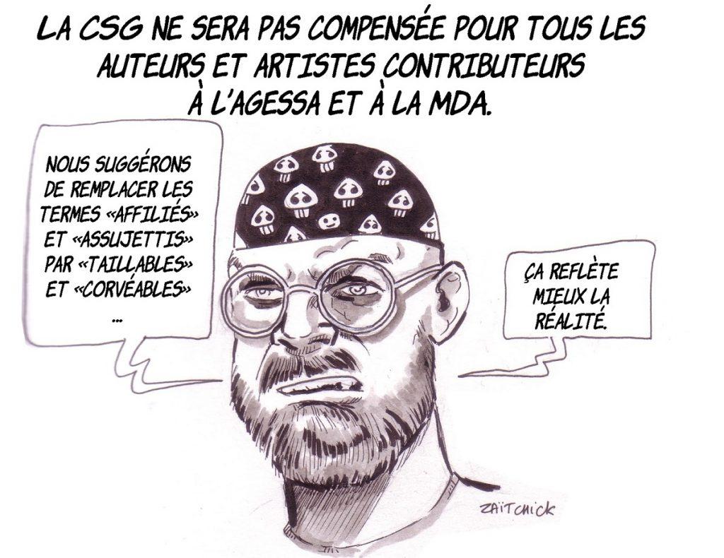 dessin d'actualité humoristique sur la CSG des auteurs et artistes