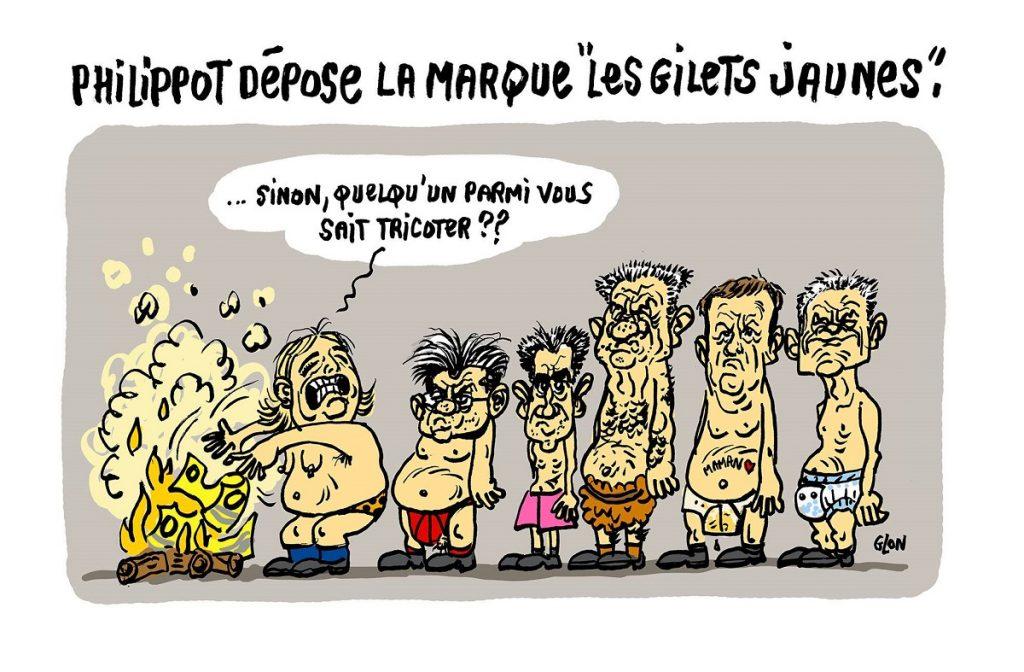 """dessin d'actualité humoristique sur le dépôt de la marque """"Les gilets jaunes"""" par Florian Philippot"""