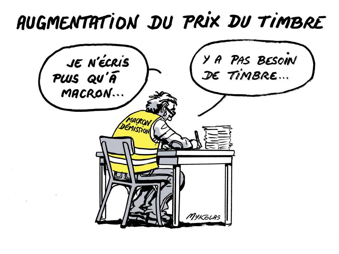 dessin d'actualité humoristique sur les gilets jaunes et l'augmentation du prix du timbre
