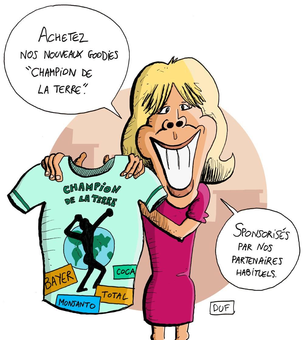 dessin d'actualité humoristique sur la nomination d'Emmanuel Macron Champion de la Terre par l'ONU