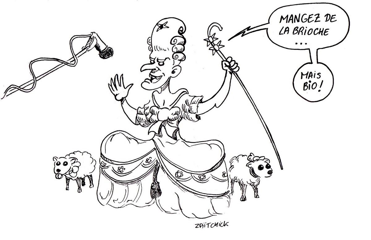 dessin d'actualité humoristique d'Emmanuel Macron en Marie Antoinette face aux gilets jaunes