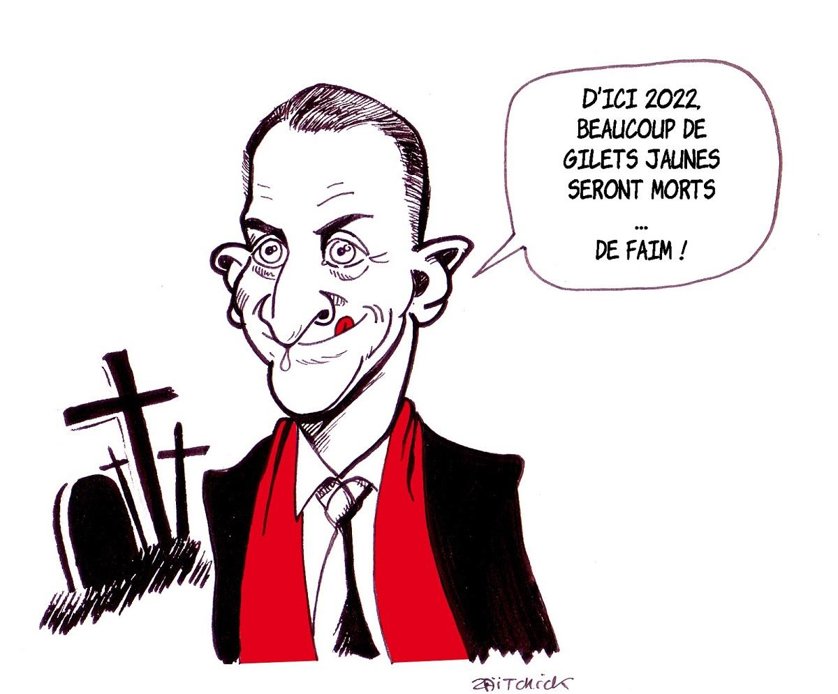 dessin d'actualité drôle sur Christophe Barbier et la crise des gilets jaunes