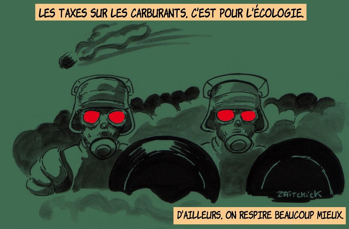 dessin d'actualité humoristique sur le gazage massif des gilets jaunes par les forces de l'ordre