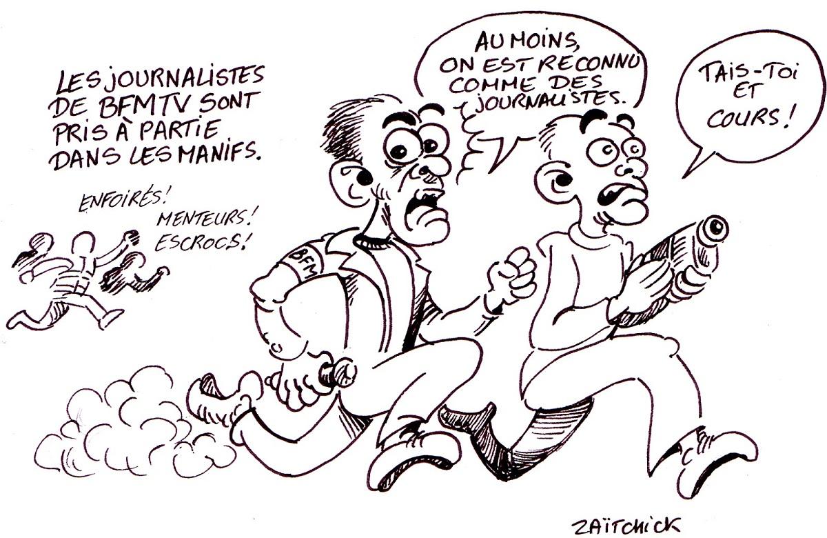 dessin d'actualité humoristique sur les journalistes de BFMTV pris à partie dans les manifestations