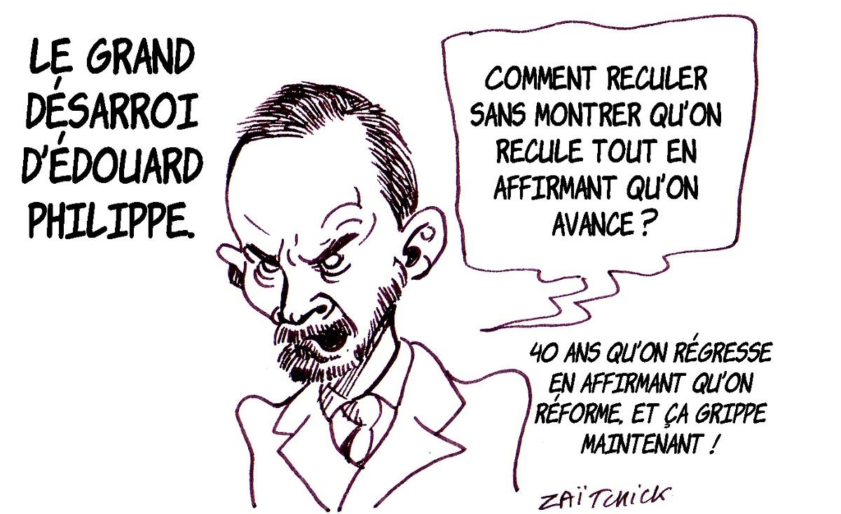 dessin d'actualité humoristique sur Édouard Philippe face au mouvement des gilets jaunes