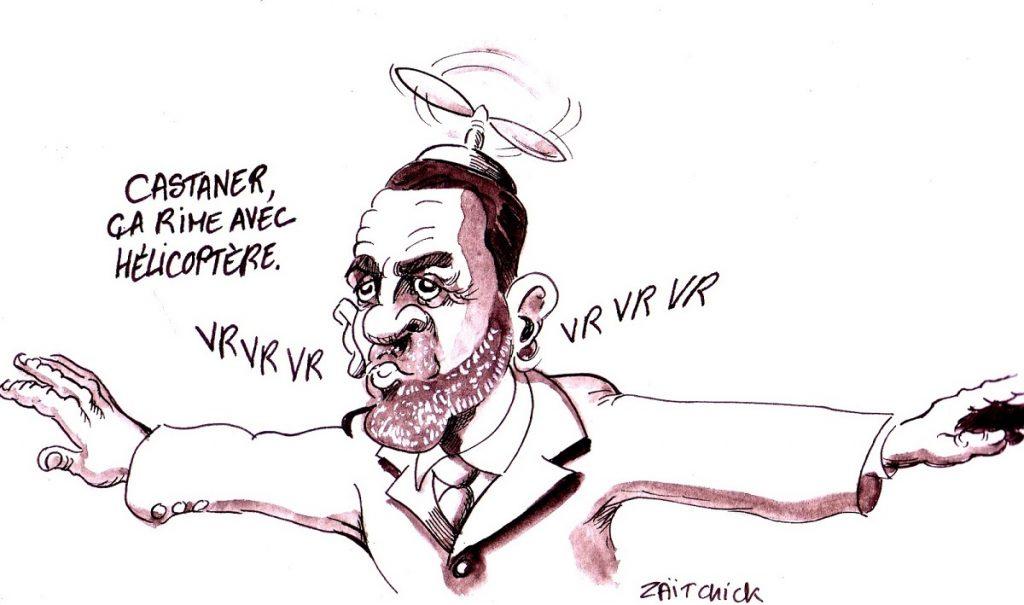 dessin d'actualité humoristique sur le déplacement en hélicoptère de Christophe Castaner
