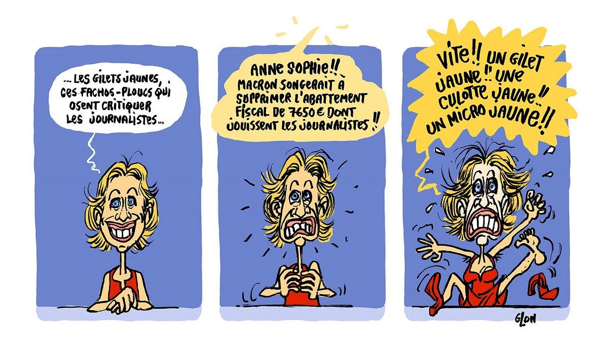 dessin d'actualité humoristique sur la journaliste Anne-Sophie Lapix et le mouvement des gilets jaunes