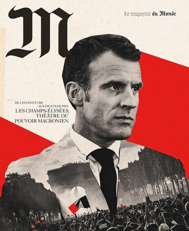 reproduction de la une de M le magazine du monde représentant Emmanuel Macron