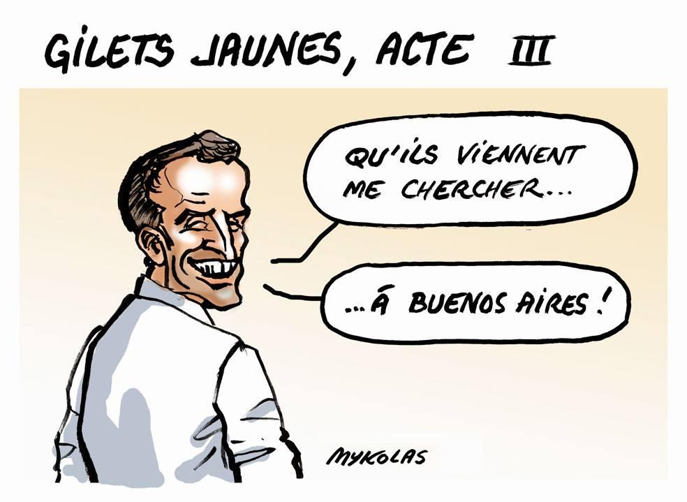 dessin d'actualité humoristique sur la réaction d'Emmanuel Macron face au mouvement des gilets jaunes