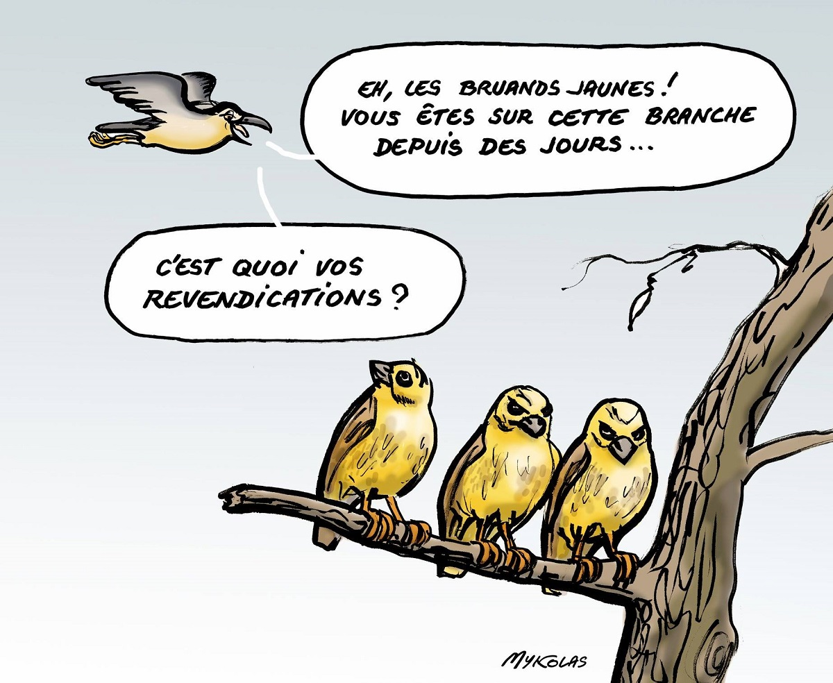 dessin humoristique sur la commune de Bas-en-Basset en référence au mouvement des gilets jaunes