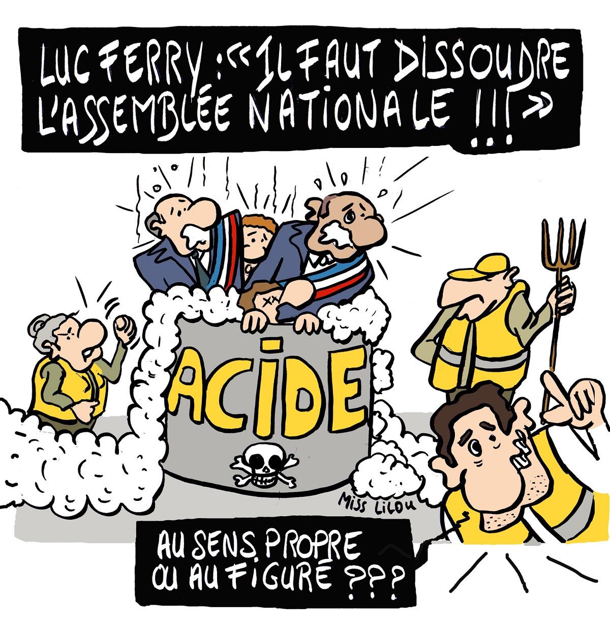 dessin d'actualité humoristique sur la proposition de Luc Ferry de dissoudre l'Assemblée Nationale