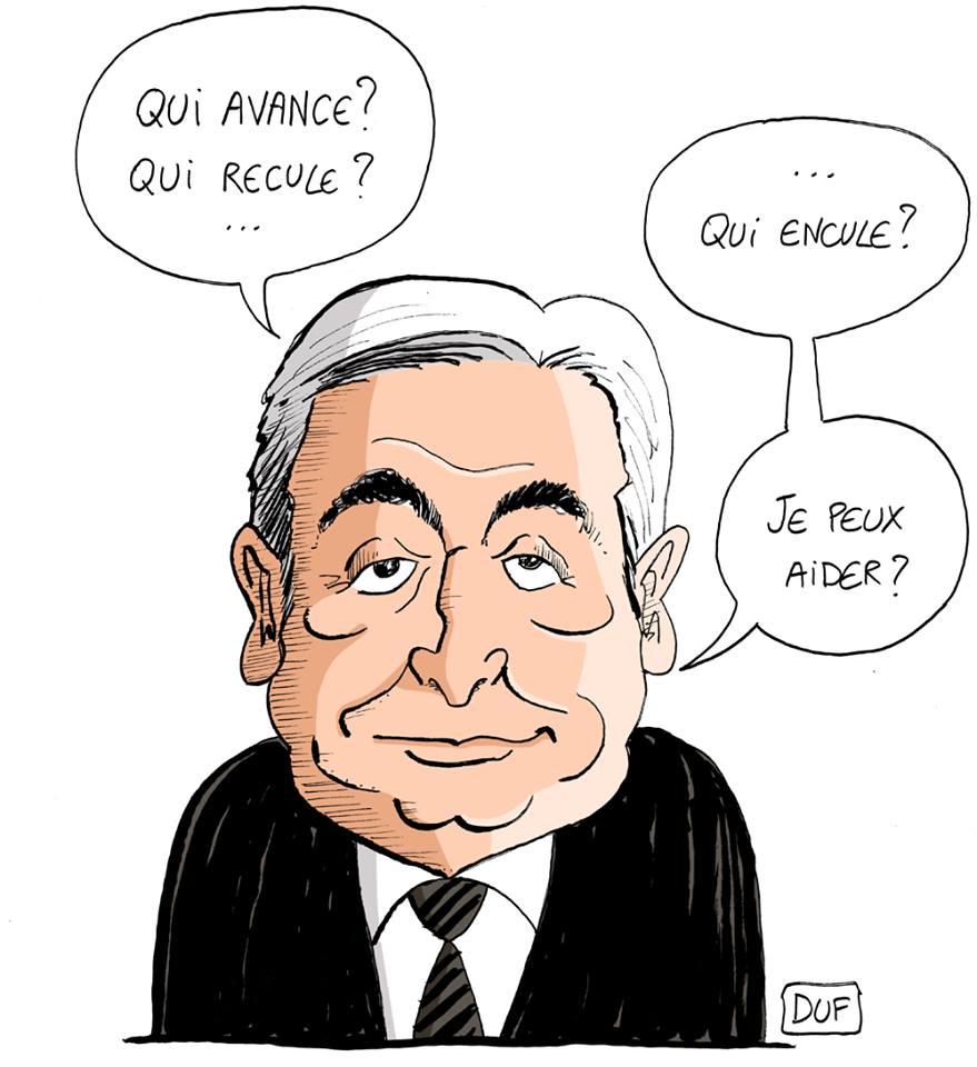 dessin d'actualité humoristique sur l'attitude d'Emmanuel Macron face aux gilets jaunes commentée par Dominique Strauss-Kahn