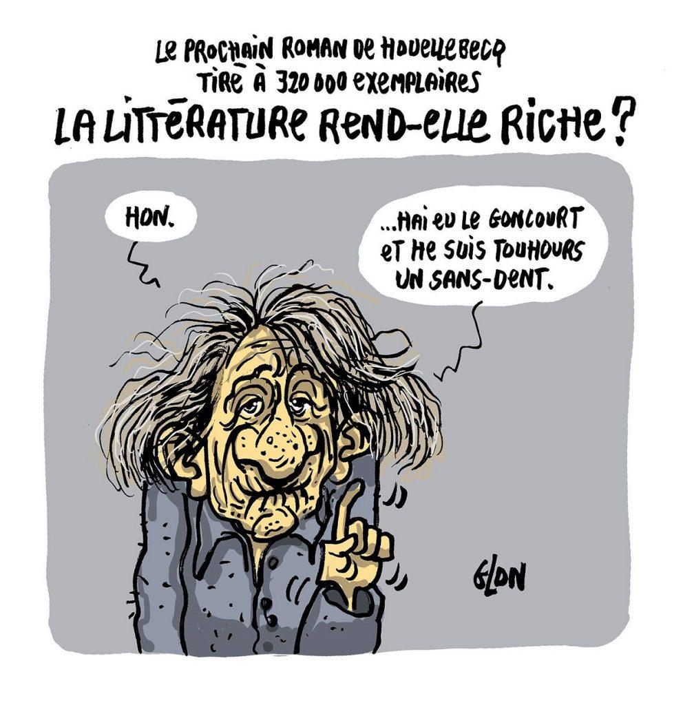dessin d'actualité humoristique sur la sortie du nouveau roman de dessin de Michel Houellebecq