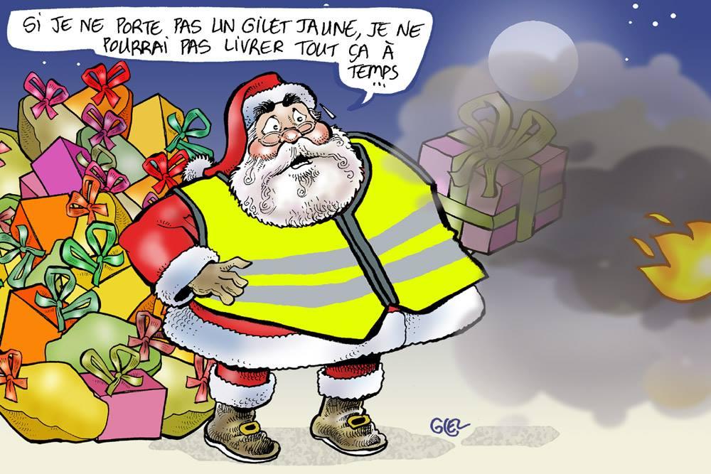 dessin d'actualité humoristique sur le Père Noël face au mouvement des gilets jaunes