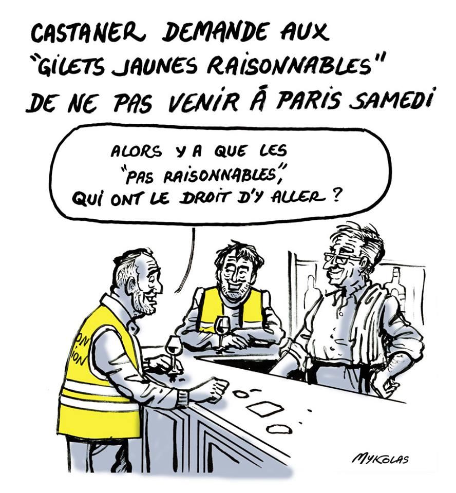 dessin d'actualité humoristique sur le mouvement des gilets jaunes et les recommandations de Christophe Castaner