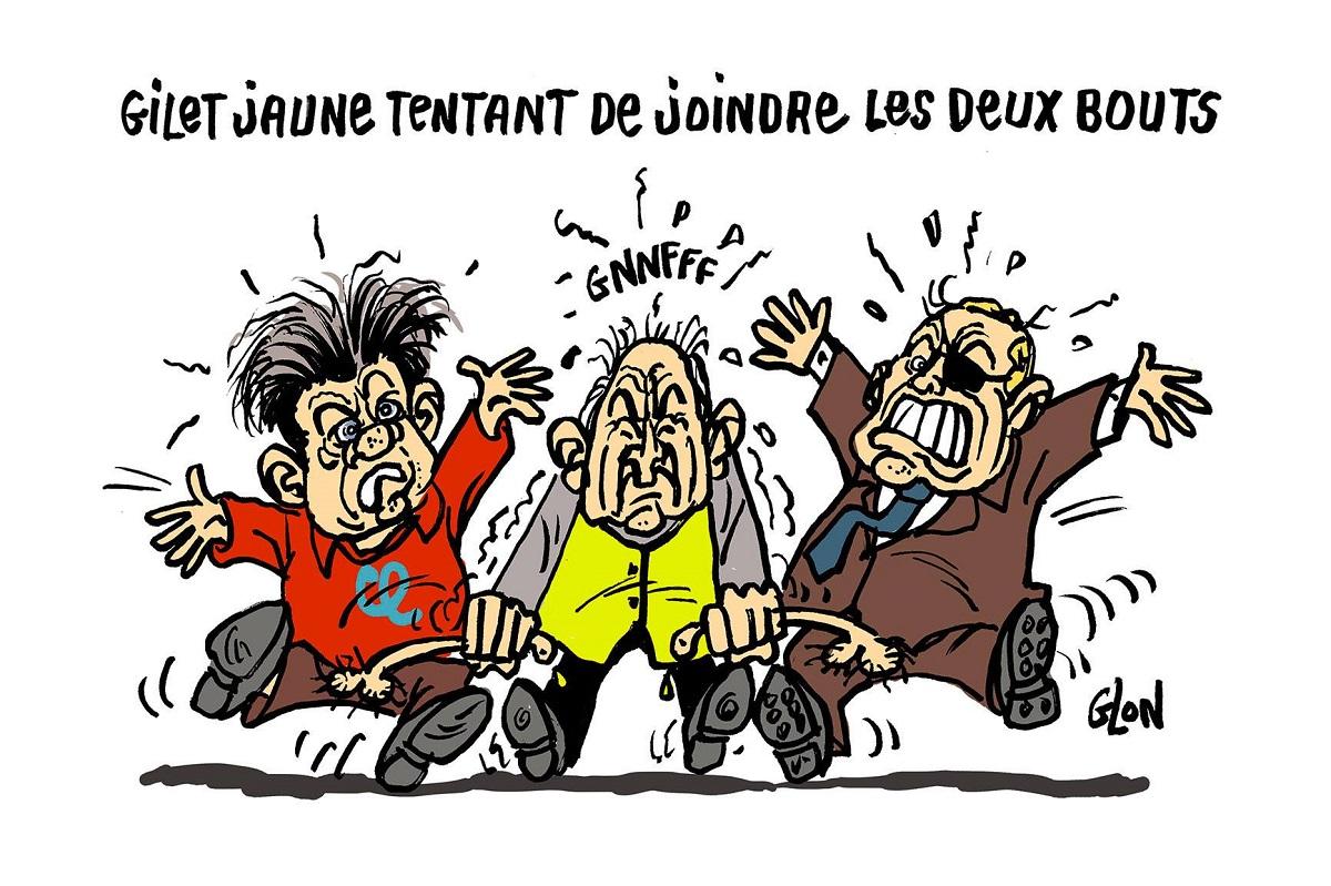 dessin d'actualité humoristique sur les gilets jaunes, Jean-Luc Mélenchon et Jean-Marie Le Pen