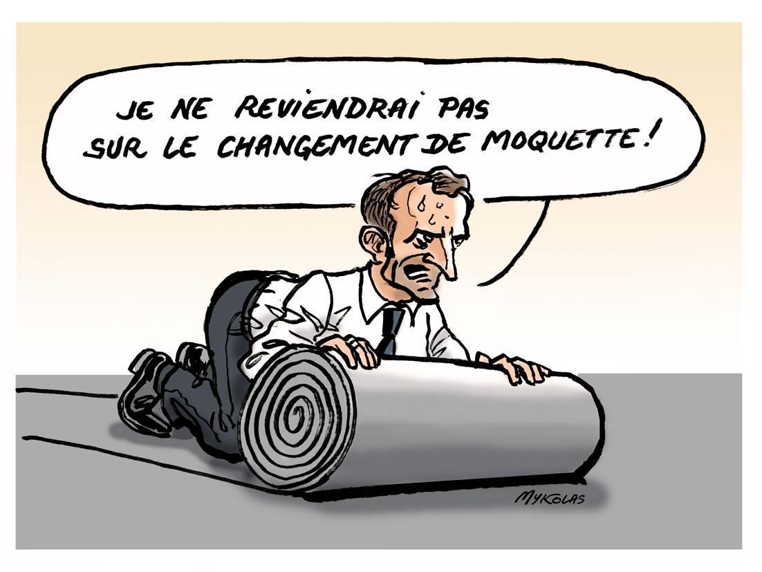 dessin d'actualité humoristique d'Emmanuel Macron face au mouvement des gilets jaunes et au retour de l'annulation du changement arrière