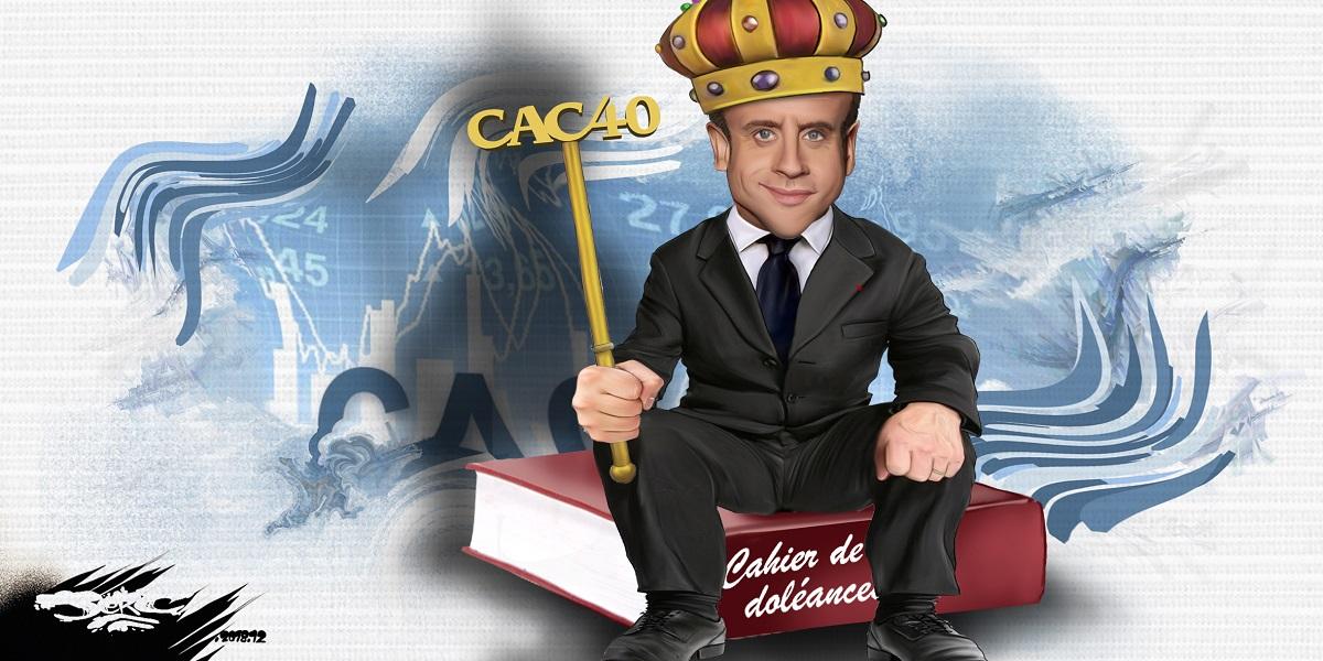 dessin d'actualité humoristique d'Emmanuel Macron face au mouvement des gilets jaunes