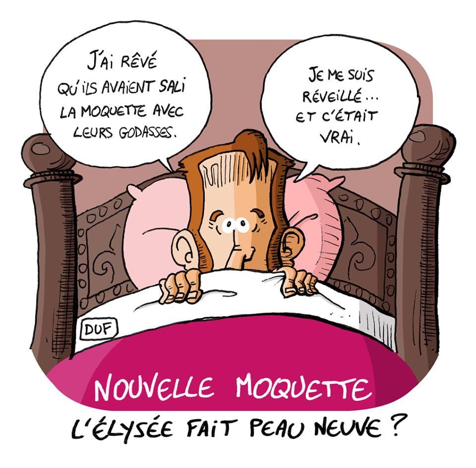 dessin d'actualité humoristique sur les gilets jaunes, cauchemar d'Emmanuel Macron