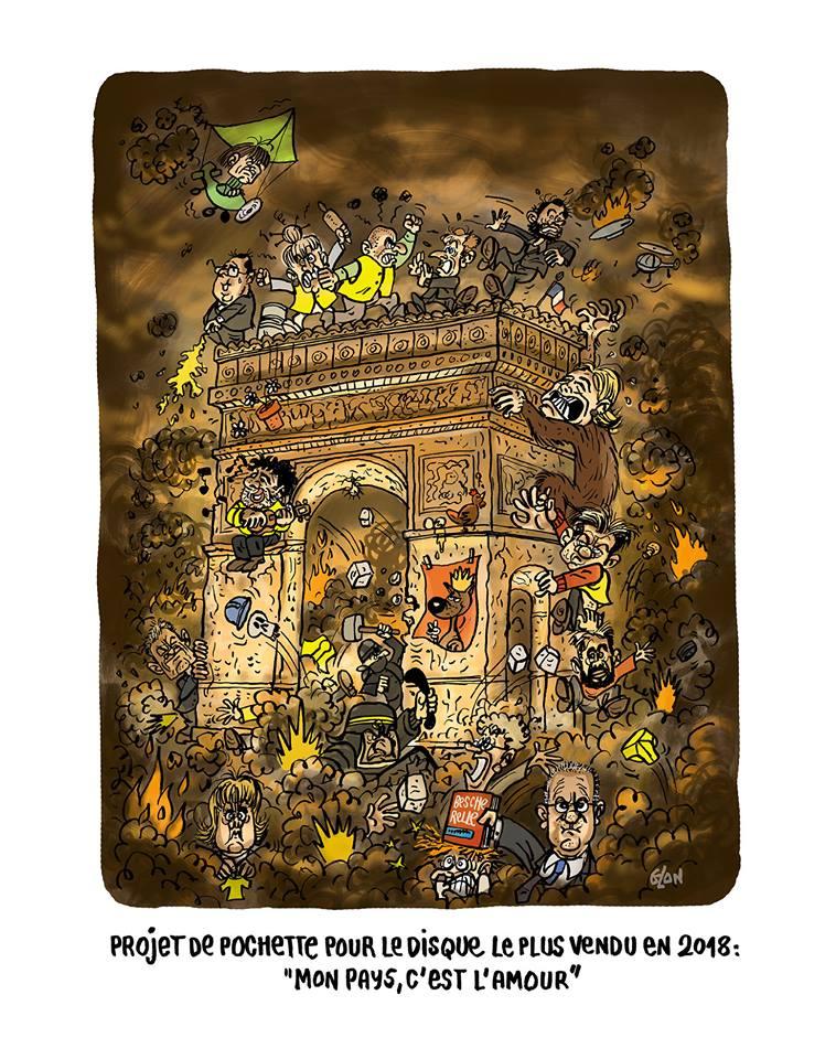 dessin d'actualité humoristique sur le mouvement des gilets jaunes et l'Arc de Triomphe