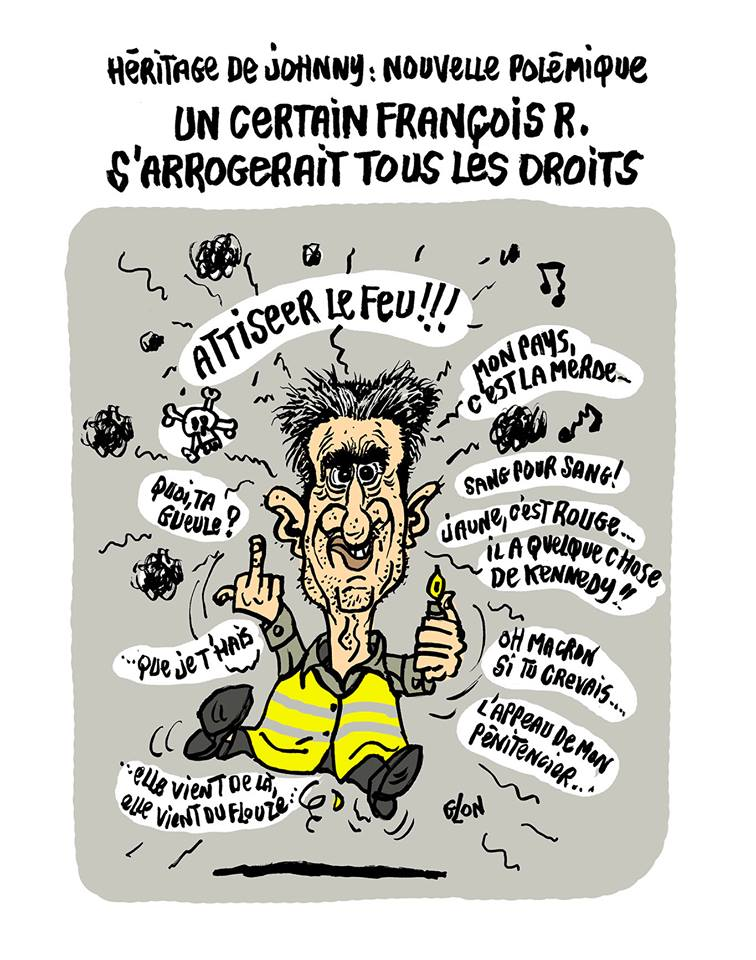 dessin d'actualité humoristique de François Ruffin et du mouvement des gilets jaunes