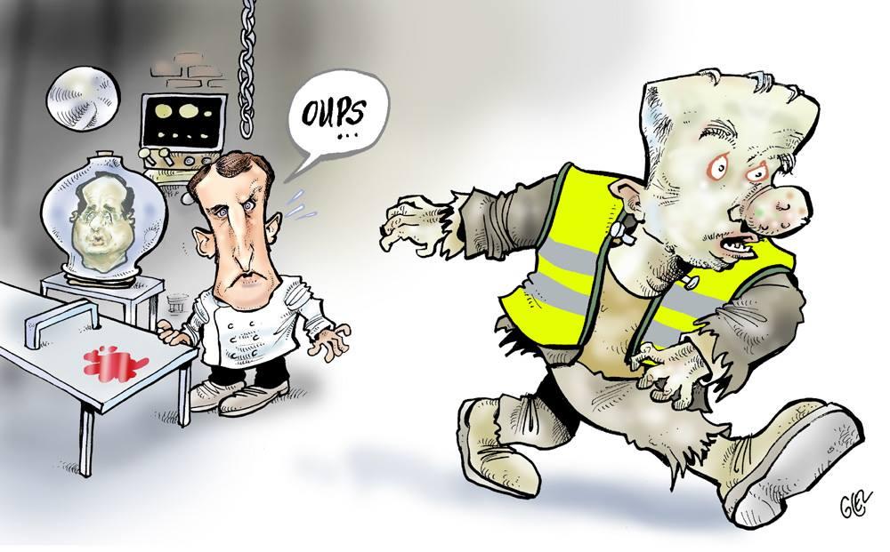 dessin d'actualité humoristique sur le mouvement des gilets jaunes défini comme un monstre par Christophe Castaner