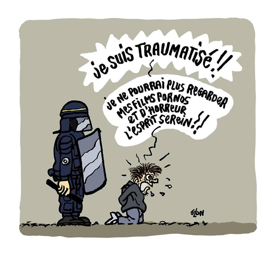 dessin d'actualité humoristique sur les lycéens arrêtés par les forces de l'ordre