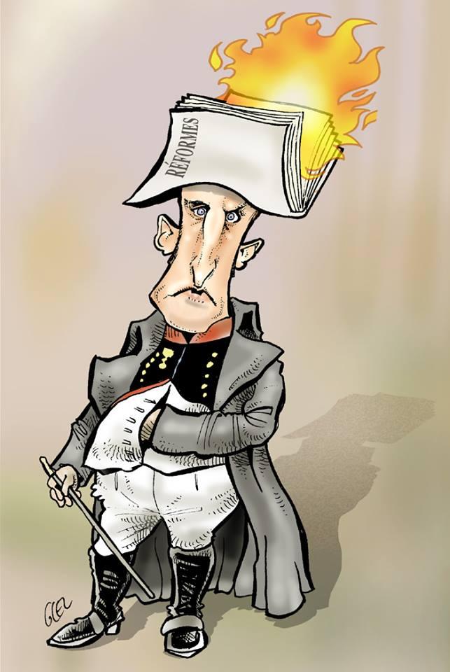 dessin d'actualité humoristique d'Emmanuel Macron en Napoléon Bonaparte