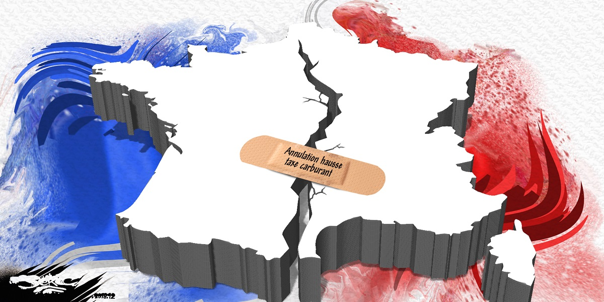 dessin d'actualité humoristique sur la fracture de la France