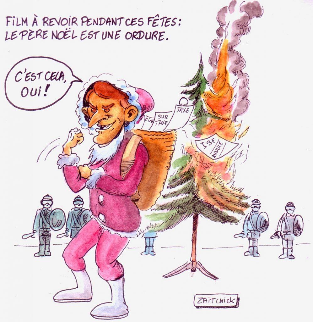 dessin d'actualité humoristique d'Emmanuel Macron en Père Noël est une ordure