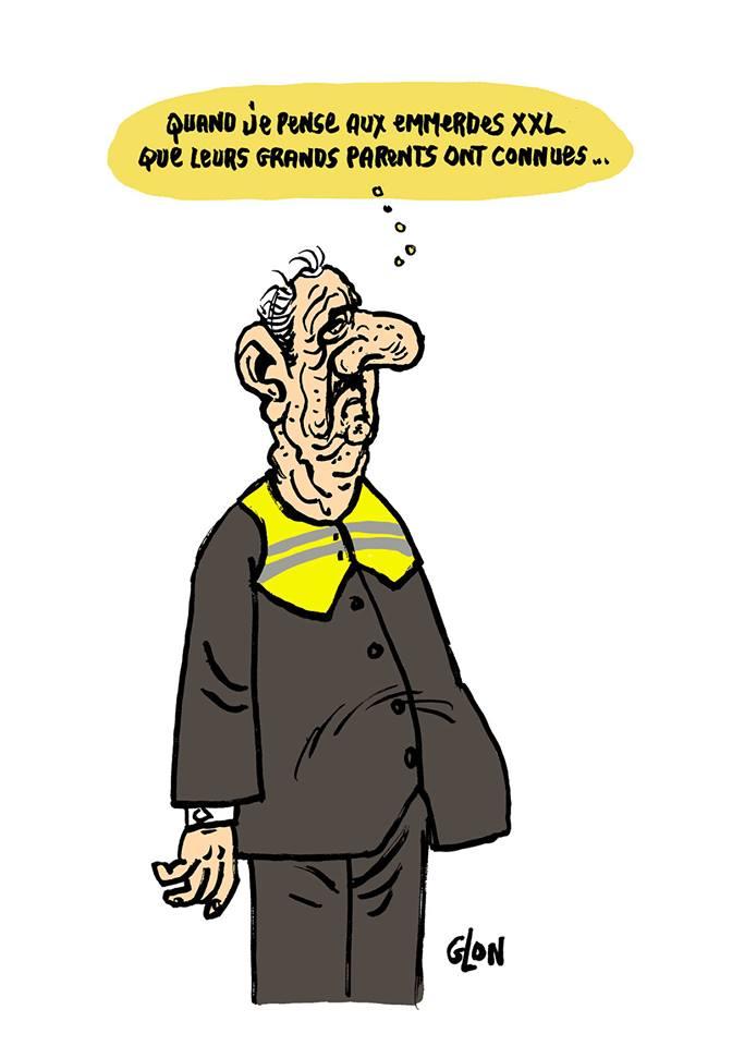 dessin d'actualité humoristique de Charles de Gaulle face au mouvement des gilets jaunes