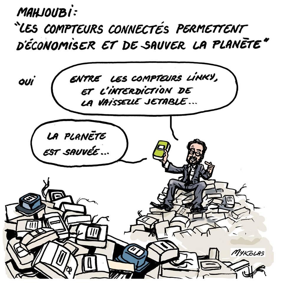 dessin d'actualité humoristique de Mounir Mahjoubi, représentant en compteur Linky