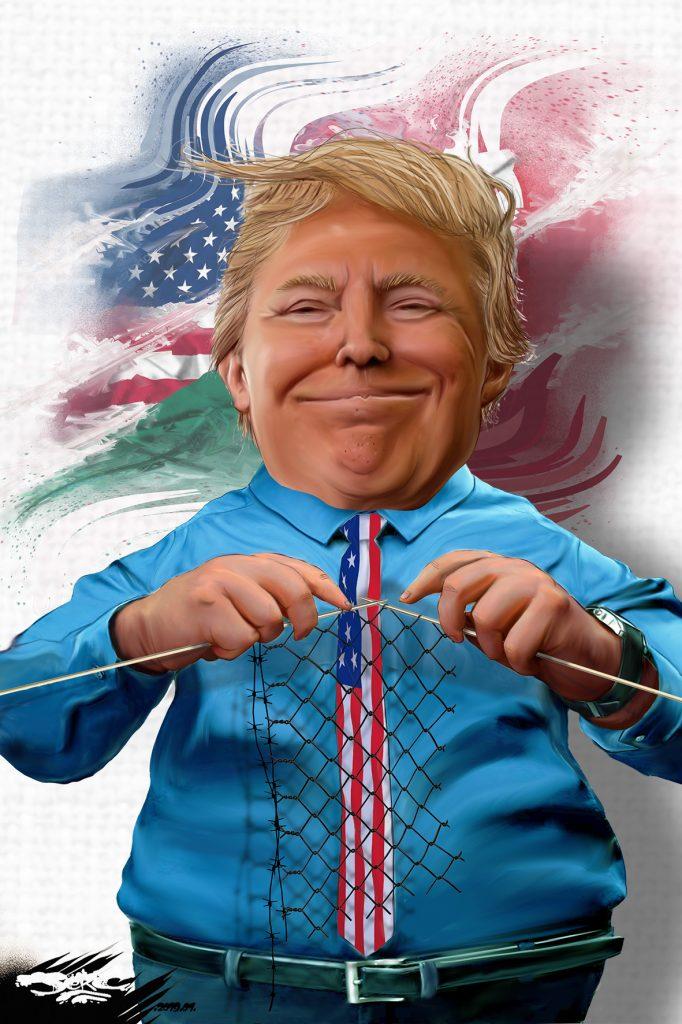 dessin d'actualité humoristique sur le mur de Donald Trump entre les États-Unis et le Mexique
