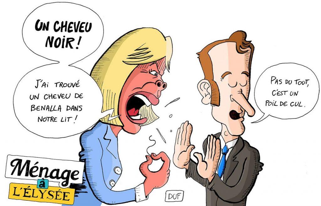 dessin d'actualité humoristique sur le couple présidentiel et le retour d'Alexandre Benalla
